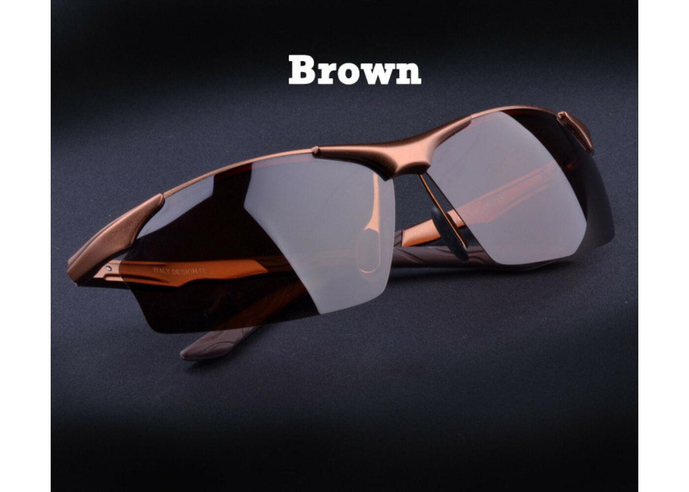 Barna alumínium-magnézium keretes divatos férfi napszemüveg ... 0b41ab4bcf