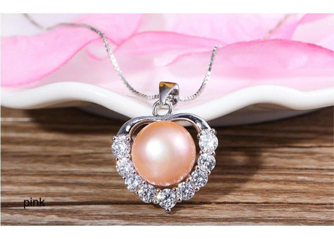 925 Sterling valódi ezüst nyaklánc édesvízi gyöngy és cirkónium medállal  Katt rá a felnagyításhoz 3807761614