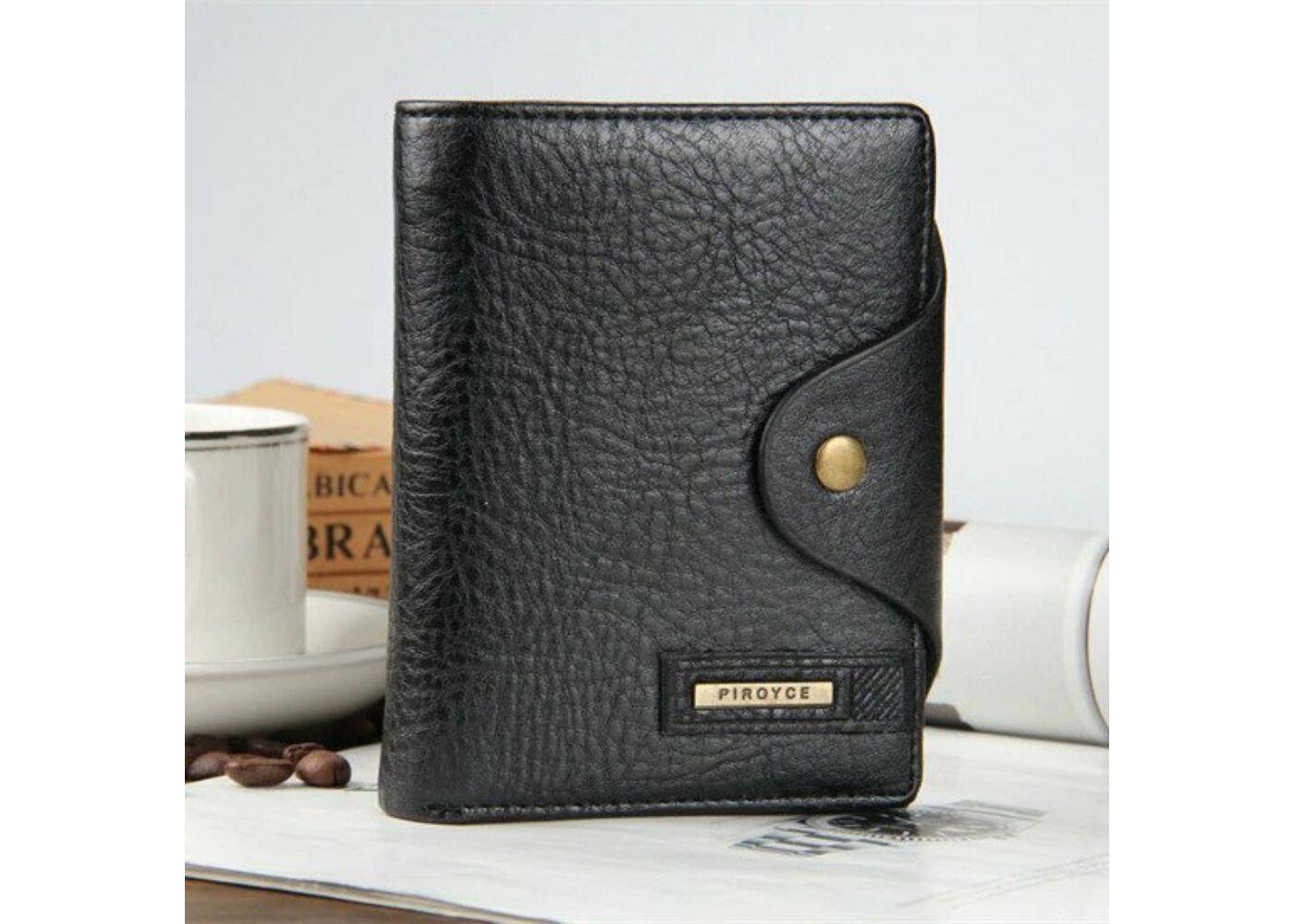 7ee0ceab3f PIROYCE valódi bőr férfi pénztárca, fekete (11,5x9,5 cm) Katt rá a  felnagyításhoz
