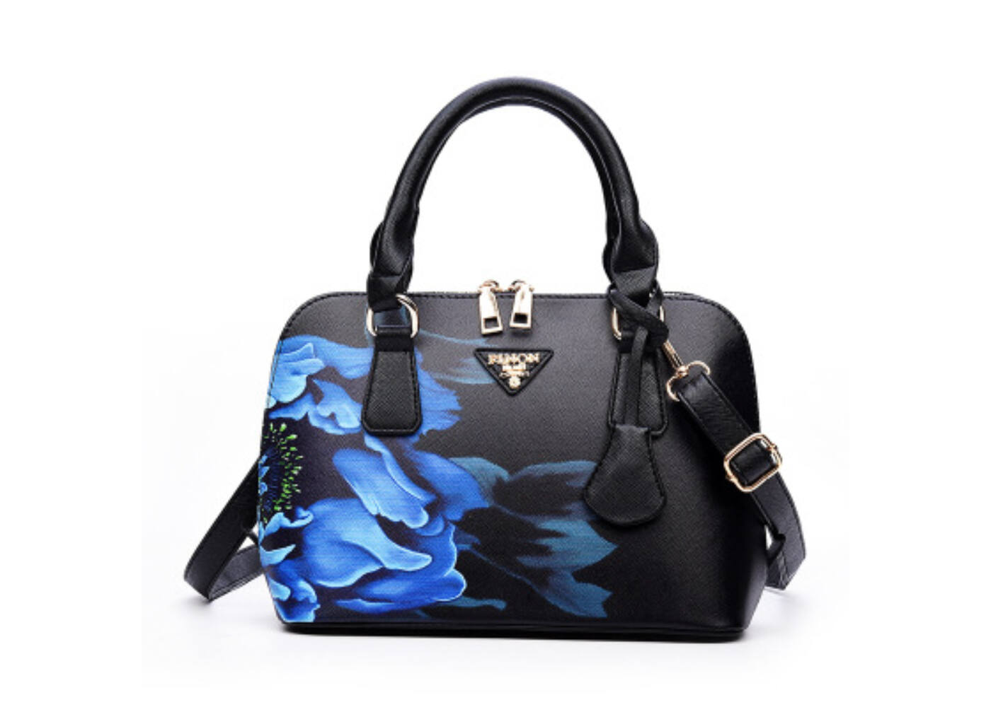 31fec57f6e Fekete-kék virág motívumos luxus műbőr táska Katt rá a felnagyításhoz