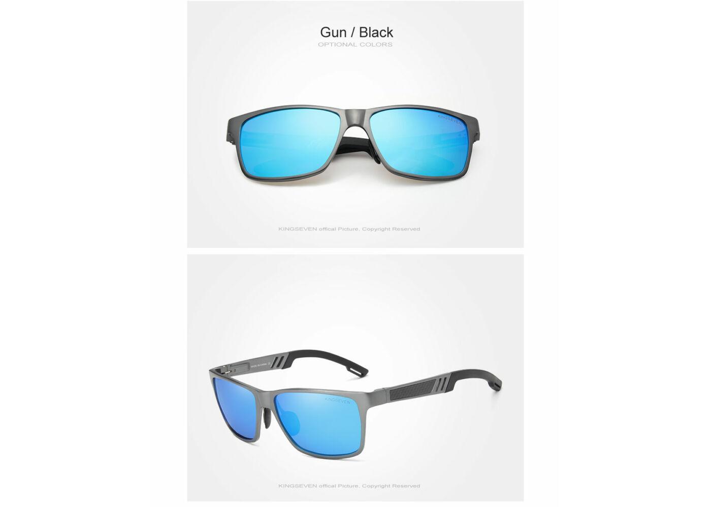 KINGSEVEN extravagáns polarizált férfi napszemüveg kék lencsével 79b9122d20
