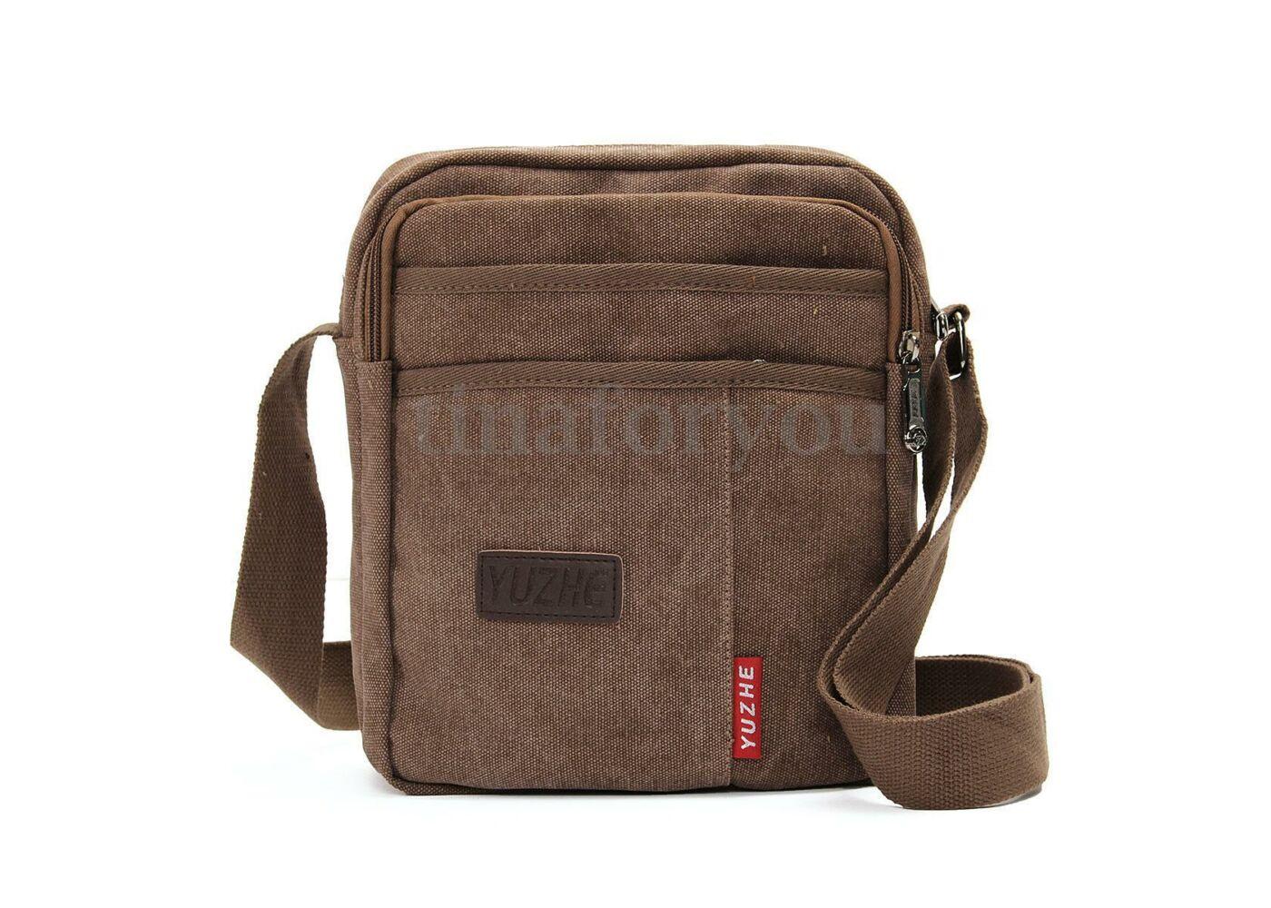 2af4881118ad Sötétbarna vászon férfi táska, 25x21x9 cm Katt rá a felnagyításhoz
