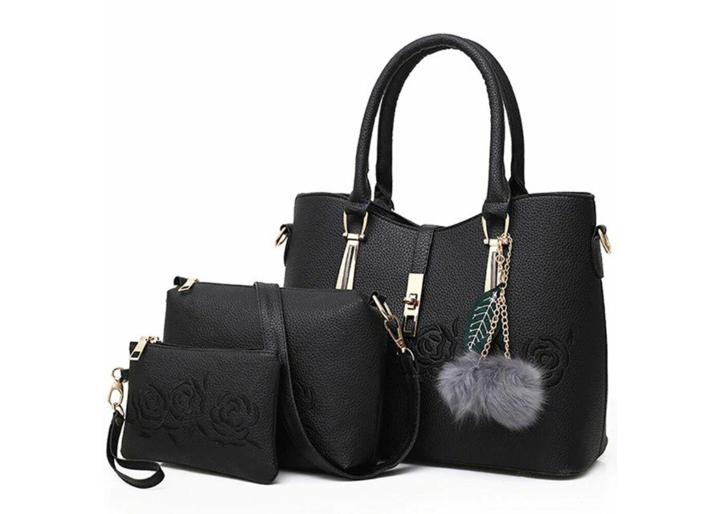 d26e5fb72aa2 Divatos fekete rózsa motívumos műbőr táska szett szürke pompommal, 3 db  Katt rá a felnagyításhoz