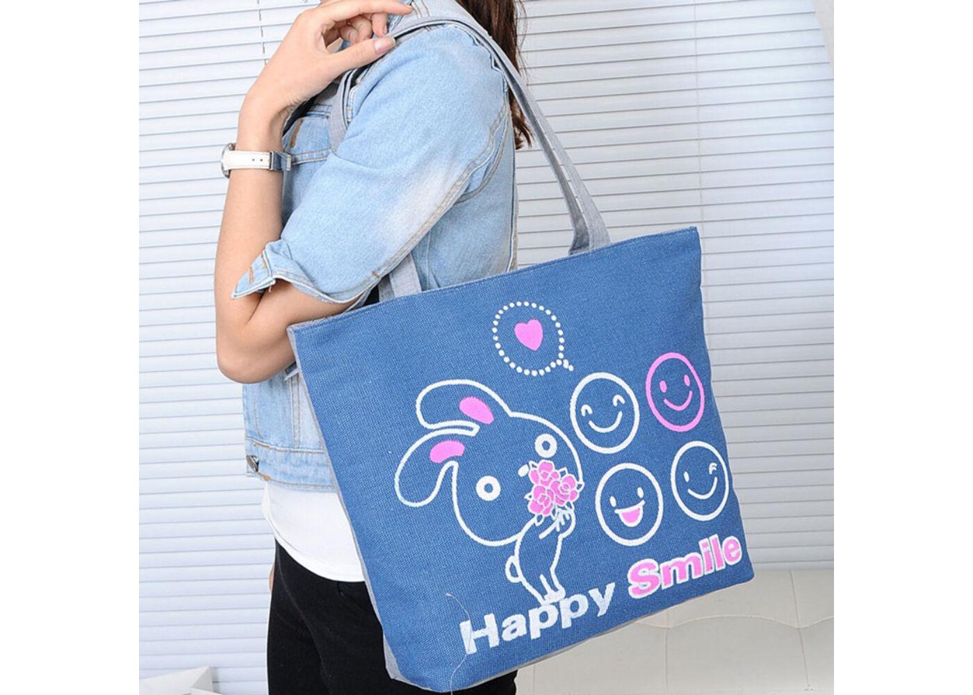 Happy Smile feliratú lilás színű nyuszis válltáska - Női táskák ... c934b789fe