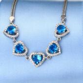 925 sterling ezüst (valódi) From Maria King karkötő, kék kristályokkal, Óceán szíve (Titanic) motívummal