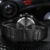 Naviforce LED és analóg, kronográfos vízálló luxus military sport karóra fekete szíjjal