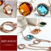 SINZRY luxus aranyozott statement nyaklánc kristályokkal, rose gold - 108 cm