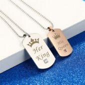 Nemesacél His Queen - Her King páros nyaklánc, ajándékdobozzal