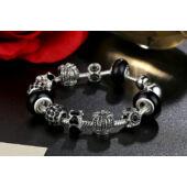 BAMOER ezüstözött Pandora stílusú Charm karkötő, szív és virág motívumokkal, pink, 20 cm