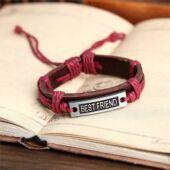 Best Friend Legjobb barátok jelképes barna-piroslila bőr karkötő, uniszex
