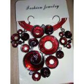 Afrikai stílusú bőr és zománc nyaklánc medállal és fülbevalóval, piros