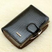 Luxus valódi bőr női pénztárca, fekete