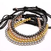 Kézzel készült fémgyöngy és makramé karkötő, rose gold színű