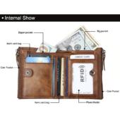 Maria King valódi bőr luxus uniszex pénztárca (12,1x9,4 cm), kék