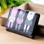 Fekete három cicás pénztárca