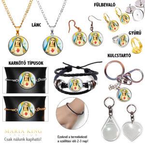 Maria 2. medál lánccal, karkötő, fülbevaló, kulcstartó