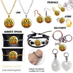 Aranytappancs medál lánccal, karkötő, fülbevaló, kulcstartó