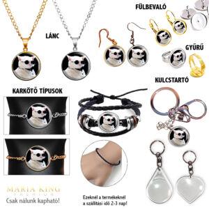 Napszemüveges cicás medál lánccal, karkötő, fülbevaló, kulcstartó