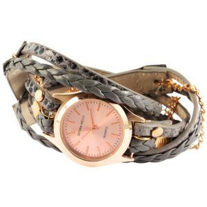 Donna Kelly többsoros nemesacél női karkötő óra, szürke