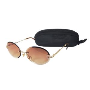 Keret nélküli ovális lencsés retro női napszemüveg, barna
