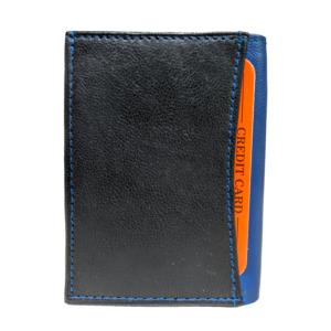 Valódi bőr uniszex pénztárca, fekete-kék