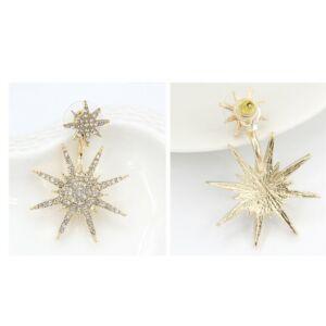 Trendi kristályokkal kirakott dupla csillagfény füldísz, ezüst