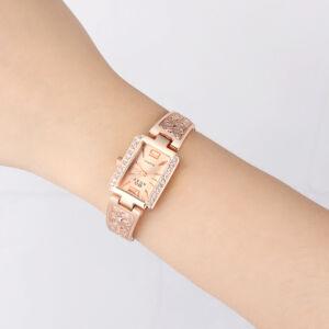 SOXY divatos nemesacél karóra kristályokkal, rose gold - cseppálló