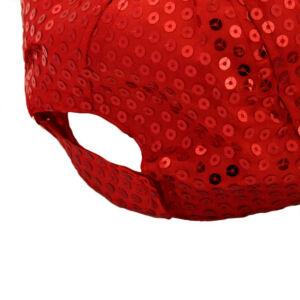 Divatosan csillogó baseball sapka, piros