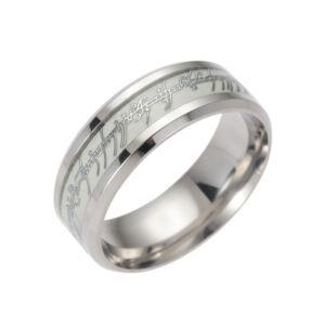 Sötétben világító Gyűrűk ura jellegű gyűrű, nemesacél, 7-es
