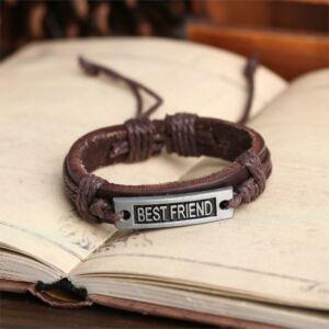 Legjobb barátok jelképes barna-barna bőr karkötő