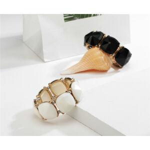 Trendi akril és fém mozaik kő karkötő - fekete