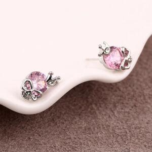 Koponya cirkónium kristály beszúrós fülbevaló, pink