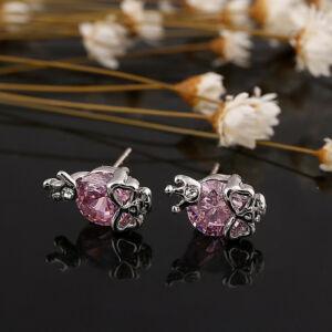 Koponya cirkónium kristály beszúrós fülbevaló, pinkKoponya cirkónium kristály beszúrós fülbevaló, pink