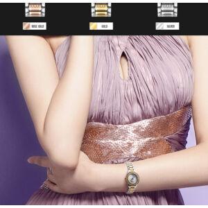 SKMEI fémszíjas cseppálló női karóra, arany-ezüst
