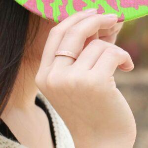 Kristályosan csillogó felületű 316L nemesacél gyűrű, rose gold, több méretben