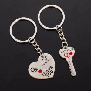 """Szív és kulcs 'I love you"""" kulcstartó pároknak, 2 db"""