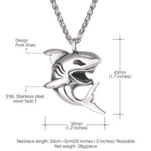 Brutálmenő nemesacél vicsorgó cápa medál vastag nyaklánccal