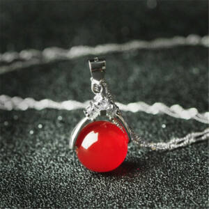 nyaklánc agate köves medállal - piros