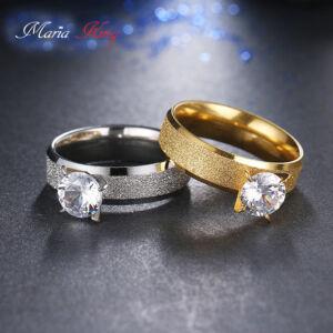 Nemesacél gyűrű cirkónium kővel, ezüst színű, több méretben