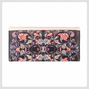 Maria King virág motívumokkal díszített gyönyörű női pénztárca (19x10 cm)