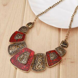 Piros-bronz vintage, egyedi nyaklánc