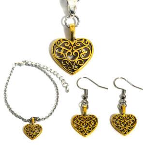 Díszes szív karkötő charmmal, arany vagy ezüst színben