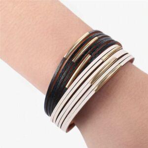 Gyönyörű fekete-fehér sokrétegű karkötő arany fémdíszekkel, 20 cm