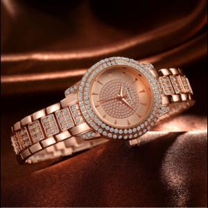 BAOSAILI gyönyörű, kristályokkal kirakott nemesacél női karóra, rose gold