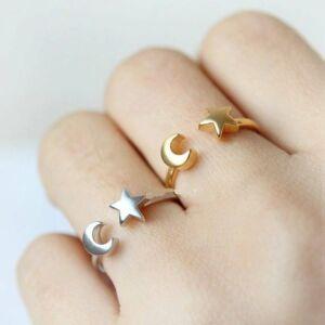Csillag és Hold állítható méretű gyűrű, rose gold színű