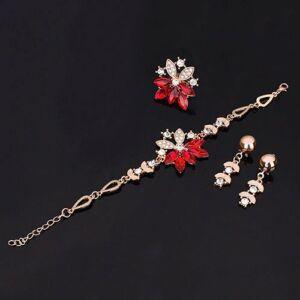 nyaklánc, fülbevaló, karkötő és gyűrű szett - piros