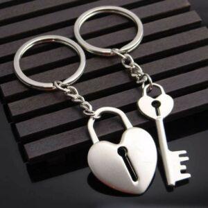Szív és kulcs kulcstartó pároknak