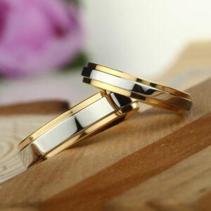 Nemesacél ezüst-arany színű karikagyűrű, több méretben