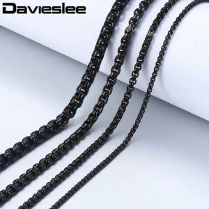 Fekete nemesacél nyaklánc, 3 mm - 45 cm
