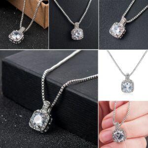 Ezüst színű kristályos divat nyaklánc
